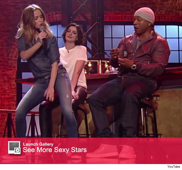 Anne Hathaway Lip Sync Battle: Emily Blunt Gives Anne Hathaway A Lap Dance While Lip