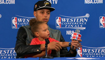 Steph Curry's Daughter -- Hijacks Press Conference A