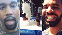 Drake -- Epic Backyard Foam Party ... With Kanye, Game, NBA Stars