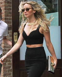 Jennifer Lawrence Flaunts Killer Abs in Crop Top and Pencil Skirt