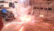 Epic Fireworks FAIL -- Dude's Garage Goes BOOM!! Why Would Anyone Do This? (VIDEO)