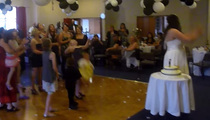 Wedding Fail -- Bouquet Goes Up ... Baby Goe
