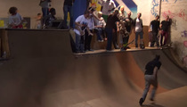 Kid Skater Inches From Freak Accident at Skatepar