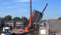 Giant Cranes Fall Off Boat ... Crush Row Of Homes