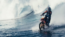 Awesome Surfing Motorbike -- Speeds Across Tahitia