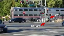 Hero Cop -- Pulls Driver Out Of Car Before Train Hits