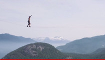 Life On The Line -- Man Walks Between Peaks ... On A Rope!!! (VIDEO)