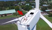 Crazy Sunbather -- Drone Spots Guy Tanning On Windmill!!