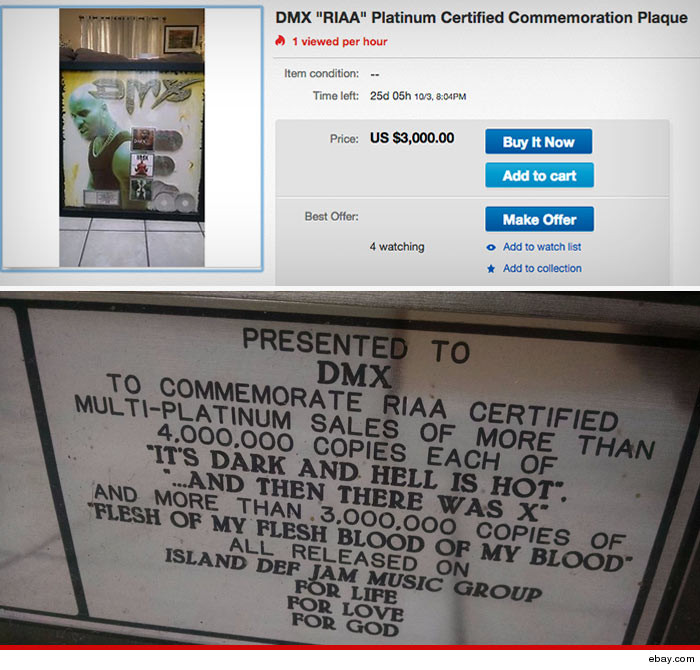 DMX platinum Plaques Auction