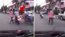One Lucky Lady -- Woman Almost Hit By Speeding Scooter
