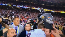 Peyton Manning -- 1st Super Bowl Victory Kiss ... From Papa John!