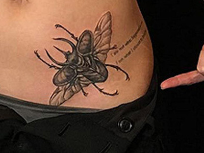 Yikes! See Which HOT Actress Just Got This MASSIVE Beetle Tattoo on Her Hip -- It's Huge!