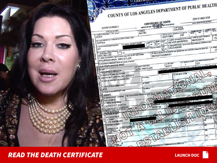 Chyna death certificate family requests ashes spread at sea