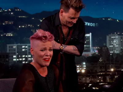 "P!nk Totally Loses Her Cool When Her ""Crush"" Johnny Depp SURPRISES Her on Live TV!"