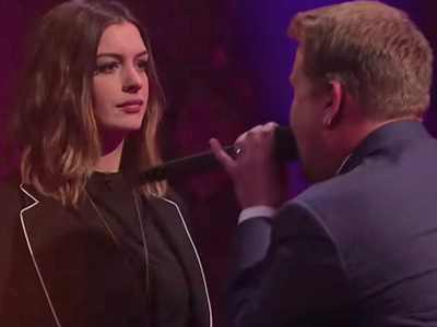 James Corden SLAMS Anne Hathaway In Epic Rap Battle -- Disses Film Flops & Oscar Hosting Gig!