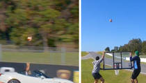 Insane Ferrari Trick Shot -- Dude Sinks Basket at 140 MPH!!! (VIDEO)