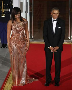Michelle Obama -- Out with a Bang ... $12k Versace Gown!