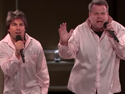 Cruise & Corden Act Out Tom's ENTIRE Film Career -- Which A-Lister Made a MAJOR Cameo?!