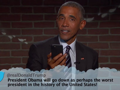 "Obama BASHES Trump During ""Mean Tweets"" -- See His Epic Mic Drop Moment!"