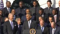 President Obama  -- Welcomes LeBron, Cavs ... Thanks For Wearin' A Shirt J.R.