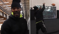 Jamie Foxx -- Catches 100 MPH Football ... TWICE! (VIDEO)