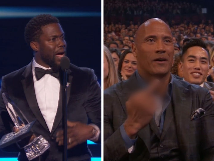 The Rock Flips Kevin Hart Off on Live TV at People's Choice Awards