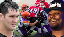 Marshawn Lynch & Gary Barnidge Running Female TACKLE Football Camp in Finland! (VIDEO)
