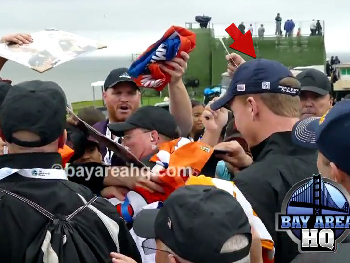 Peyton Manning MOBBED By Autograph Seekers at Pebble Beach (VIDEO)