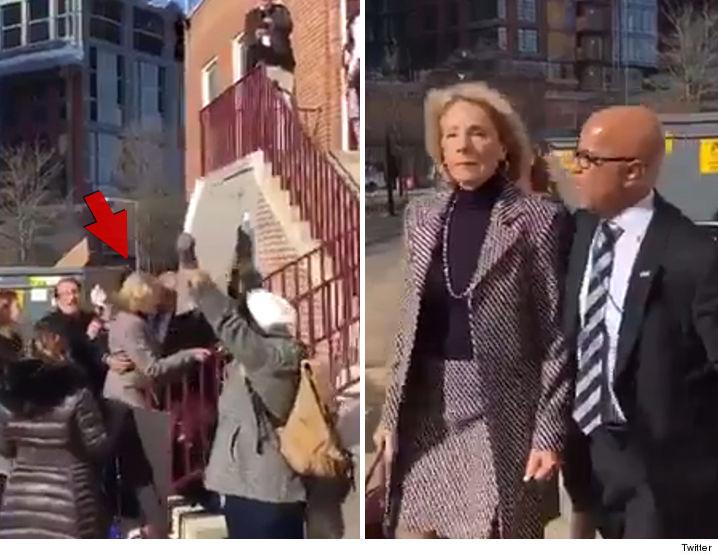 Protesters Block DeVos From DC School's Entrance