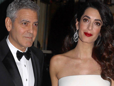 Amal Debuts Her Baby Bump In Skin-Tight Gown with George -- Totally GLAM Night with Clooney!