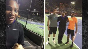 SERENA WILLIAMS CRASHES RANDOM TENNIS MATCH ... Mind If I Play??
