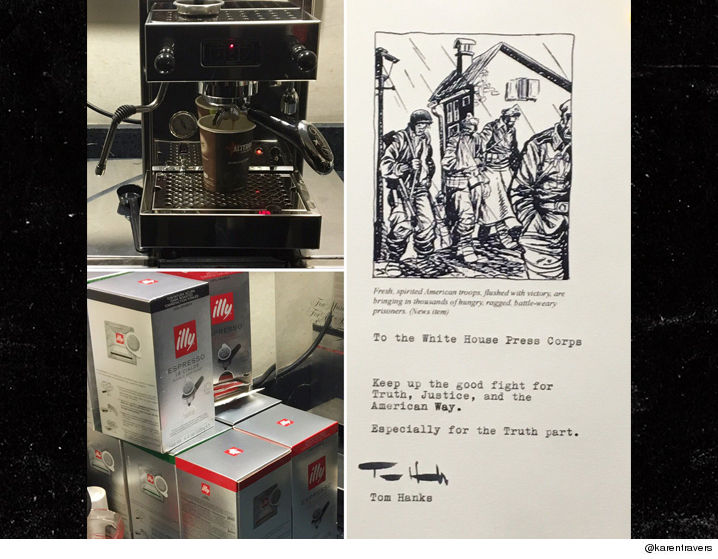 Tom Hanks gives White House press an espresso machine