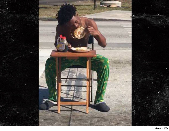 Lakeland police arrest man eating pancakes in middle of busy road