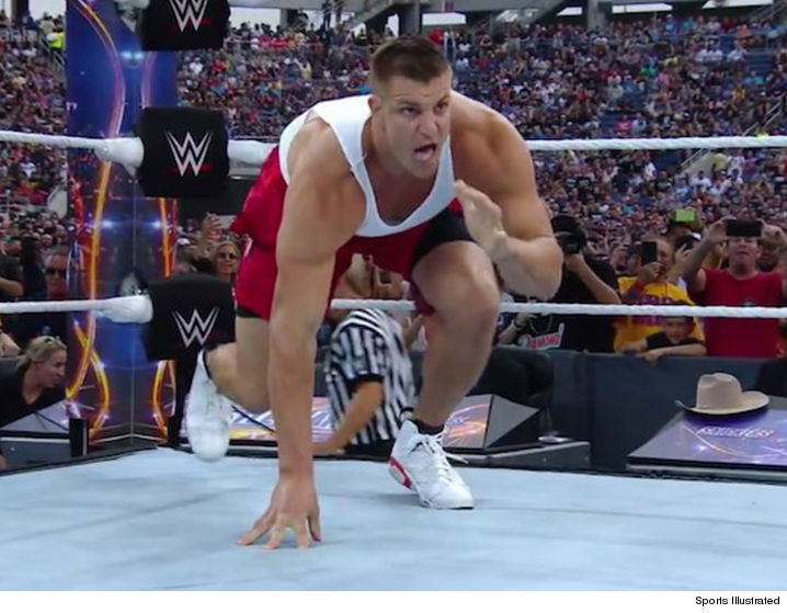Rob Gronkowski lays out wrestler in ring at WrestleMania 33