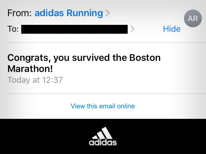 'Congrats, you survived the Boston Marathon!': Adidas apologizes for sending 'insensitive' email