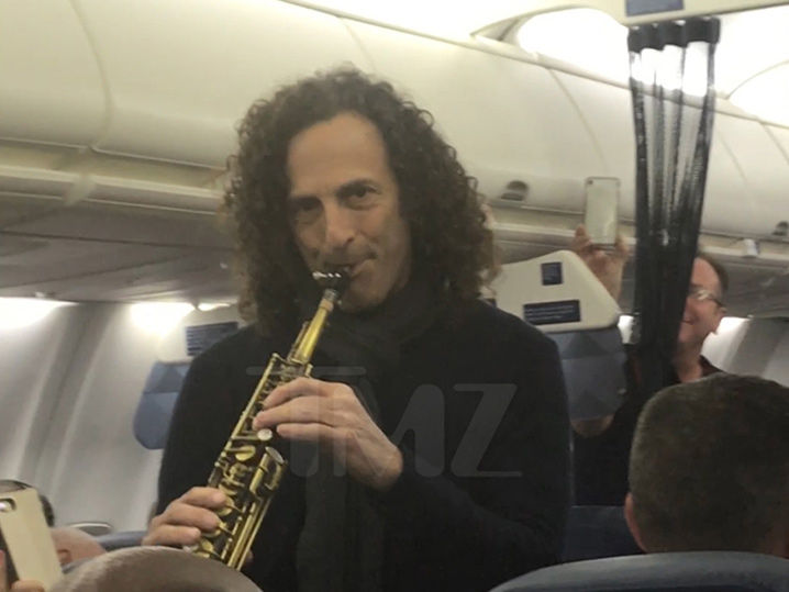 Kenny G Plays Saxophone On A Plane