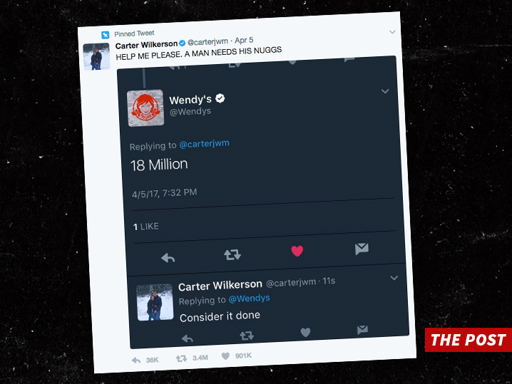 Teen's plea for free Wendy's nuggets sets retweet record