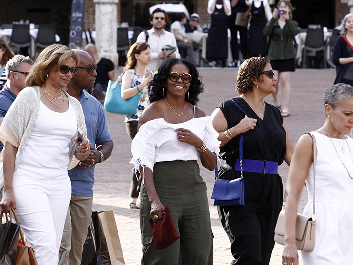 Michelle Obama Shows Major Shoulder Italian Style