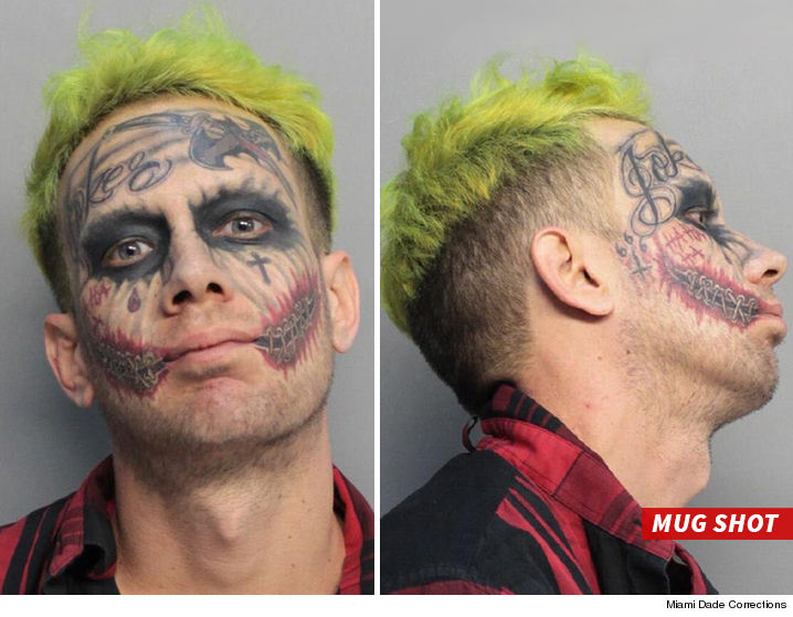 Tattooed 'Joker' accused of flashing gun at cars