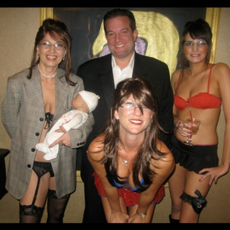 Fine upstanding women compete in a Sarah Palin stripper look-alike contest.