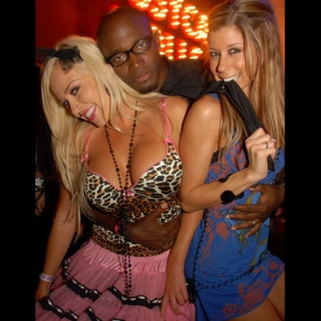 Actor Taye Diggs gets up and personal with the ladies in Las Vegas.