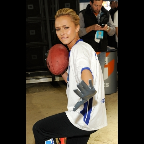Celebrities playing football tossing the ball nfl fantasy football
