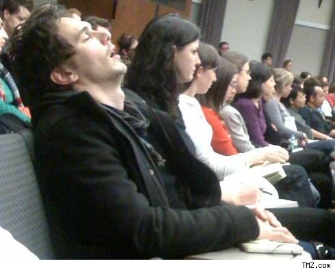 James Franco sleeping during a lecture