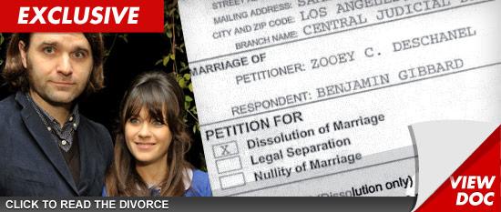 Zooey Deschanel Files to Divorce Ben Gibbard, Lists $95K ...