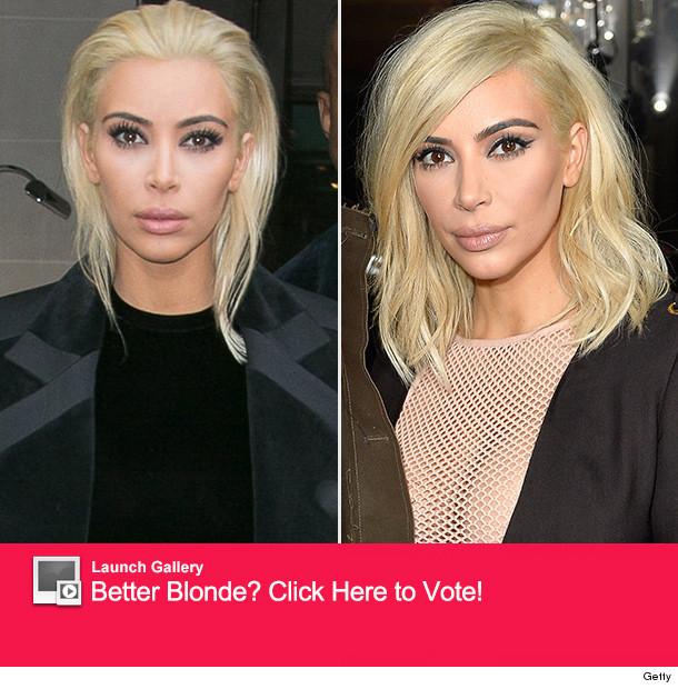 Kim Kardashian Debuts Bright Blonde 'Do At Paris Fashion