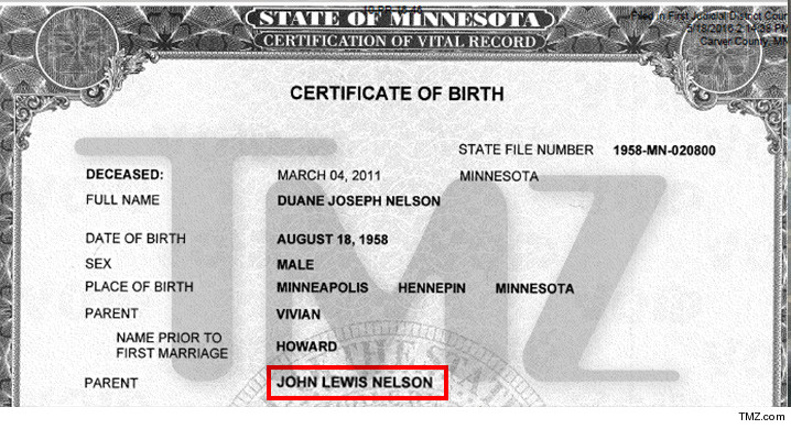 nelson prince certificate birth john lewis duane brother father overnight briefing reality general check maine tmz ross