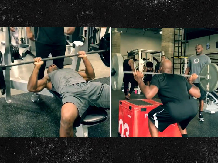 Adrian Peterson Bench Press Adrian Peterson Beasting Out